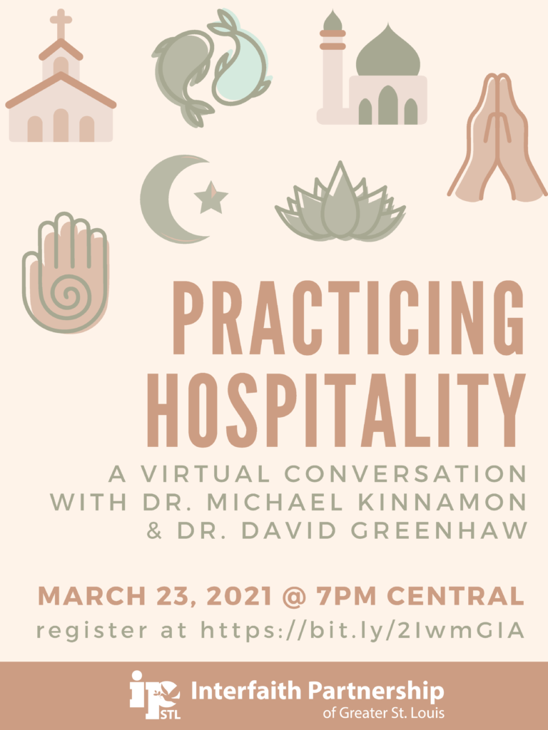 Practicing Hospitality: A Virtual Conversation with Dr. Michael Kinnamon and Dr. David Greenhaw. March 23, 2021 at 7pm central. Register in the link in the main text.